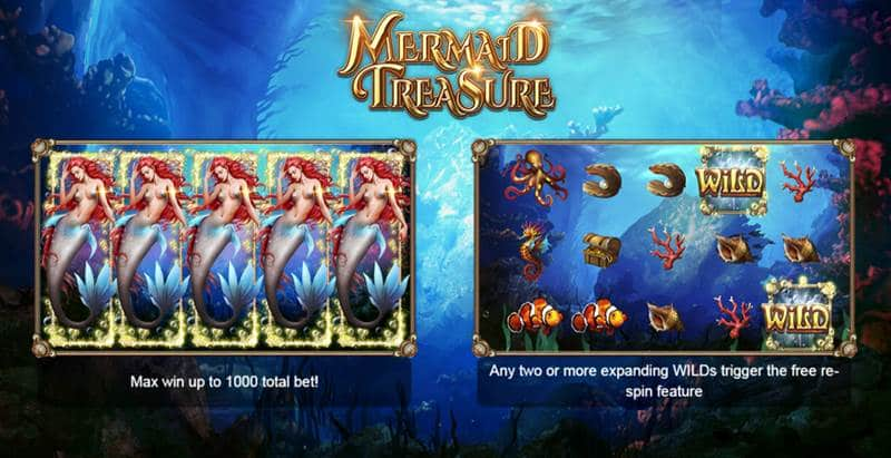 Mermaid Treasure เกมส์นางเงือกสาวสวย เล่นสล็อต Xingame หาเงินออนไลน์